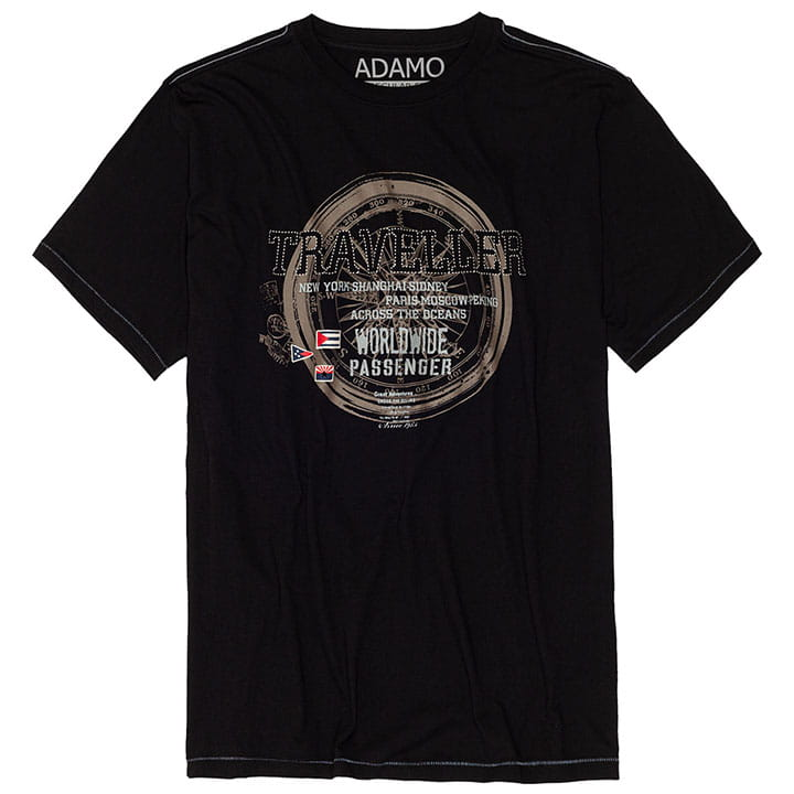 Duży t-shirt męski Adamo Traveller 131105 czarny